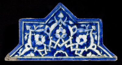 Tiles | Origin: Greater Iran | Period:  circa 1444 | Collection: The Madina Collection of Islamic Art, gift of Camilla Chandler Frost (M.2002.1.259a) | Type: Ceramic; Architectural element, Fritware, underglaze-painted, 11 1/4 x 5 11/16 in. (28.57 x 14.44 cm)