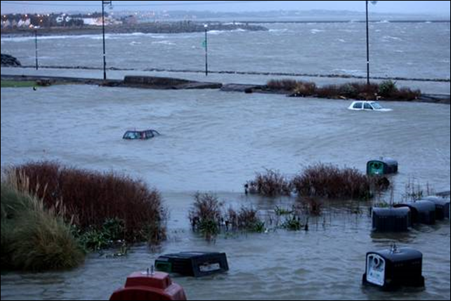 Salthill car park level with the sea after high tide and floods in Galway, Ireland, 4 January 2014. Photo: Hany Marzouk