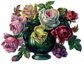 roses vase vintage image graphicsfairy002