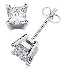 Princess Diamond 4 Prong Basket Studs in Platinum