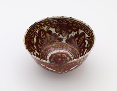 Bowl | Origin:  Iran | Period: 17th century  Safavid period | Details:  Not Available | Type: Stone-paste painted in lustre over glaze | Size: H: 9.5  W: 18.5  cm | Museum Code: F1903.225 | Photograph and description taken from Freer and the Sackler (Smithsonian) Museums.