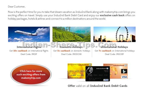 Indusind bank debit card travel offers