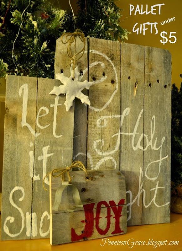 Pennies n grace holiday pallet art diy homemade gifts