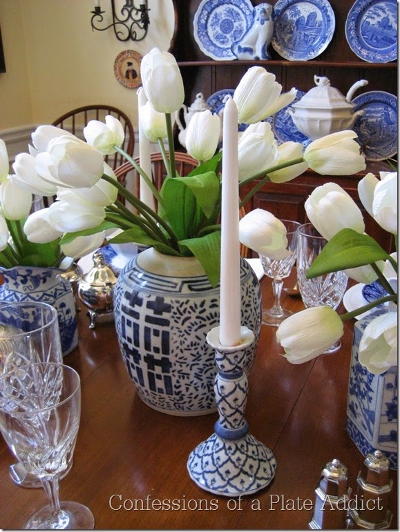 CONFESSIONS OF A PLATE ADDICT Tablescape in Blue and White