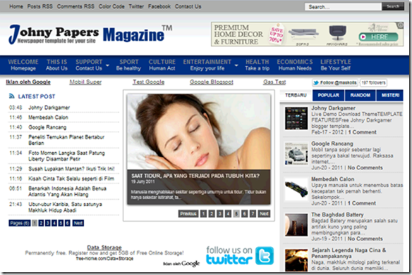 johny papers blogger template