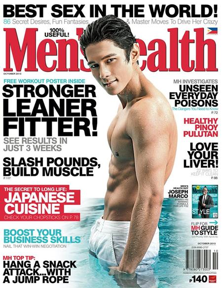 Joseph Marco on Men's Health Oct 2013 cover