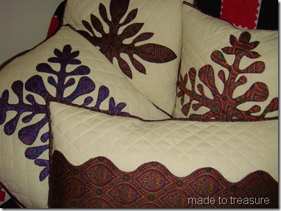 Hawaiian flower applique cushion