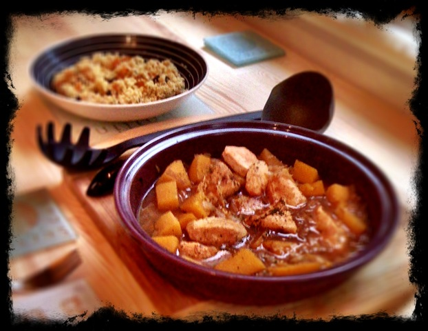 Chicken and butternut squash tagine with orange-infused apricot and raisin couscous
