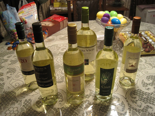A selection of South American wines at Heather's parents' house.