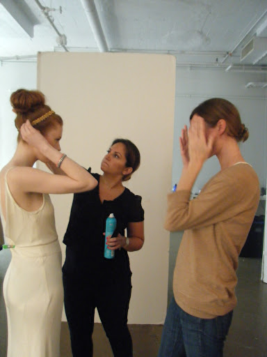 Here, the model, Sadah, and Genevieve Panuska, our deputy art director, discussing poses.