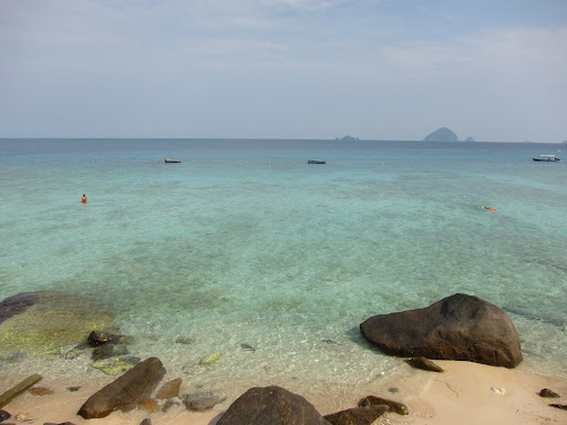 The pristine water surrounding Perhentian Kecil.