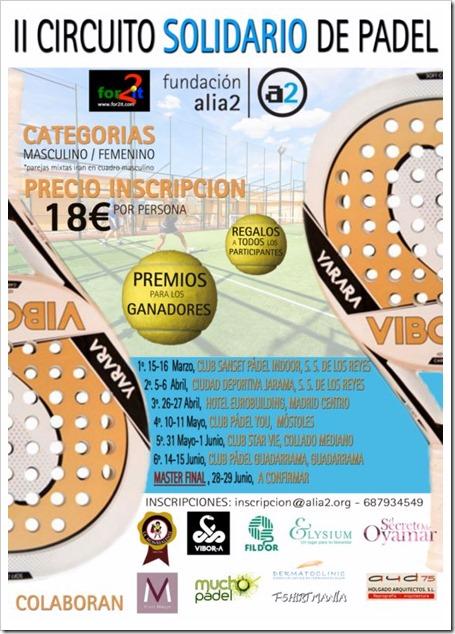 II Circuito Solidario de Pádel 2014, organizado por Fundación Alia2 en Madrid.