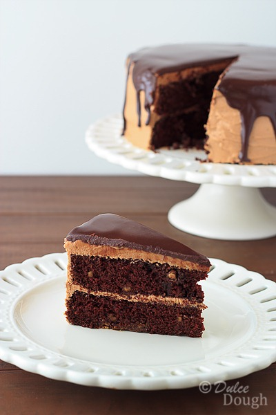 Chocolate Peanut Butter Cake with Ganache Glaze | Dulce ...