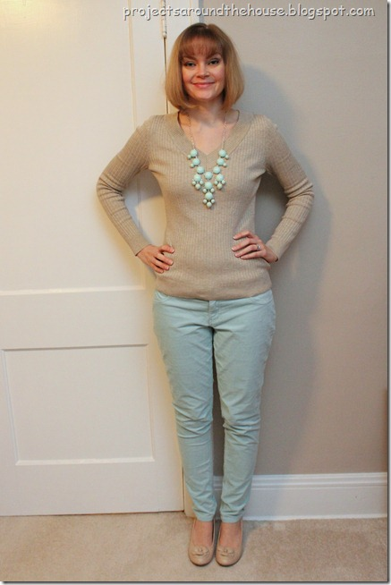mint bubble necklace, mint pants