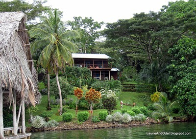 Approaching the cacao plantation by boat