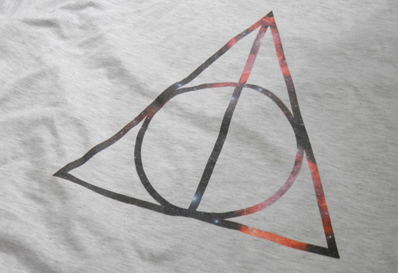 ORANGE CIRCLE DEATHLY HALLOWS COSMIC T SHIRT