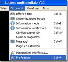 VLC accedere alle Preferenze