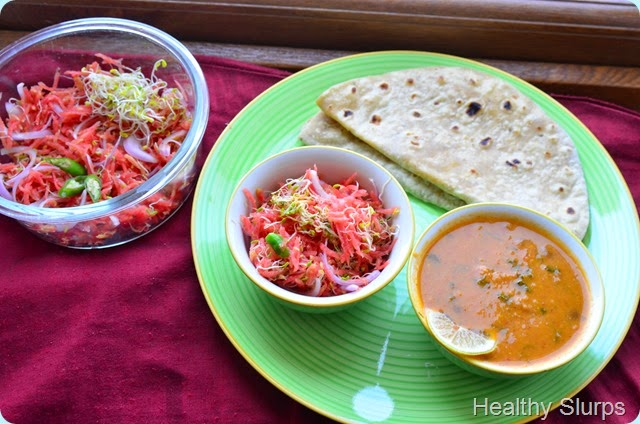 Phulka, Rajma and Salad - balanced meal