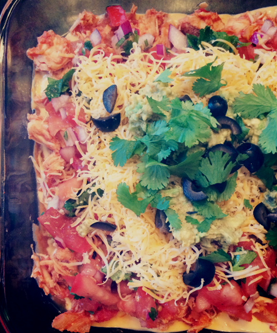 Salsa Chicken and Queso 7 Layer Dip
