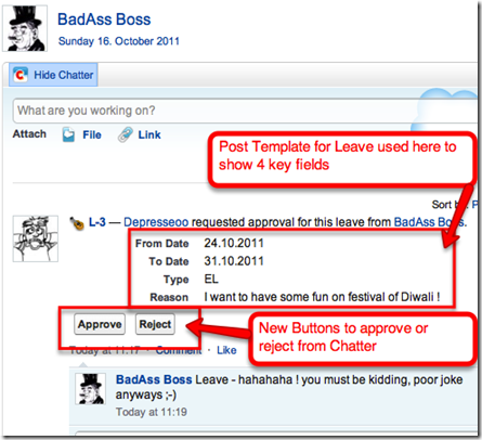 chatter approval post in salesforce chatter