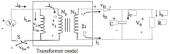 A basic flyback converter with its equivalent ideal transformer model incorporating the equivalent