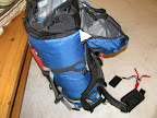 Packed and ready to go. Note accessory pouch on waistband, food in gallon freezer bag.