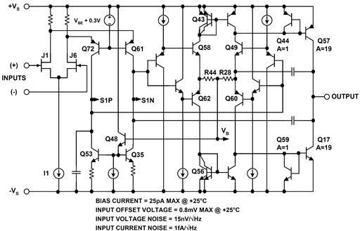 AD823 JFET input op amp simplified schematic