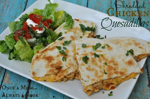 Shredded Chicken Quesadillas