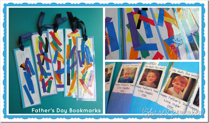 Father's Day Painted Cards & Tape Collage Bookmarks