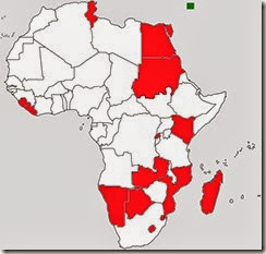africa outline map with madrid protocol members