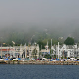 Bayfield and Fog / from ferry on the way to Madeline Island / Wisconsin