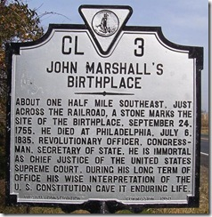 John Marshall Birthplace, Marker CL-3 Fauquier Co. VA