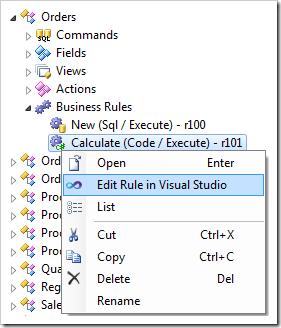 Edit Rule in Visual Studio context menu option for a code business rule.