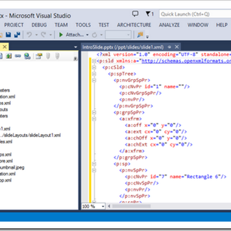Being open to opening OpenXML documents in Visual Studio with the now open source Open XML Package Editor for VS 2012/2013