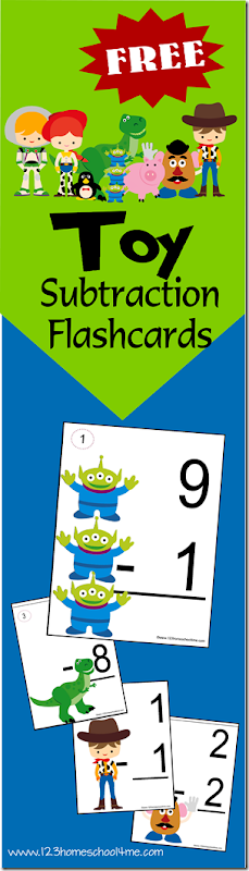 FREE Toy Story Subtraction Flashcards