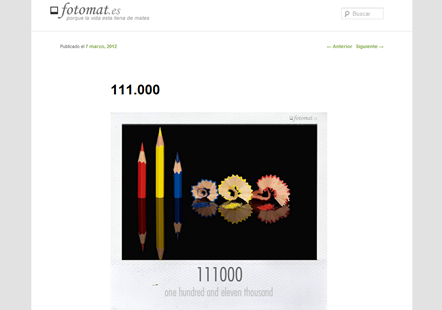 Screenshot do blog fotomat.es [Inspiração, imagens, fotos, exprimindo/para exprimir conceitos, princípios]