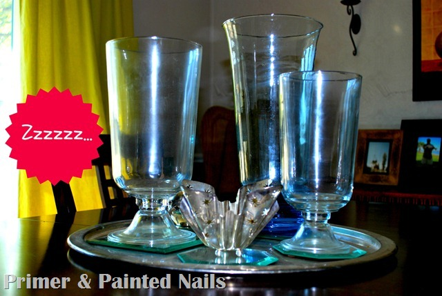 Glass Vases Before (2) - Primer & Painted Nails