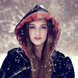 Winter Wonder by Darya Morreale - People Portraits of Women ( winter, wonderland, snow, hooded cape, beautiful girl )
