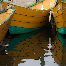 Catherine and Dauntless by David Stone - Transportation Boats ( water, dories, dory, gloucester, yellow dories, boats, dock )