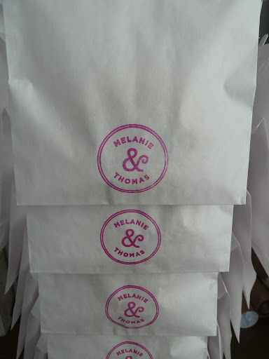 A close-up of the cookie bags, which were made with a rubber stamp from Stampworx2000. Easy and cute!
