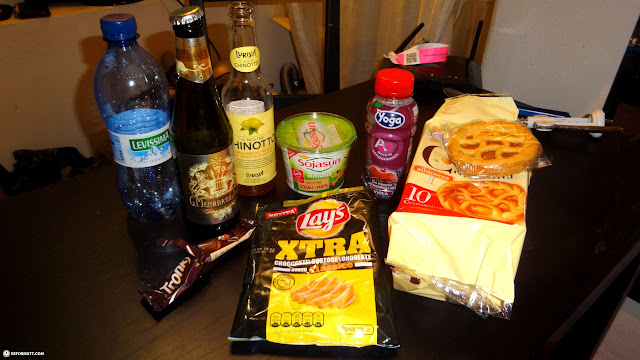trying out these random Italian snacks & drinks from the grocery store in Milan in Milan, Milano, Italy