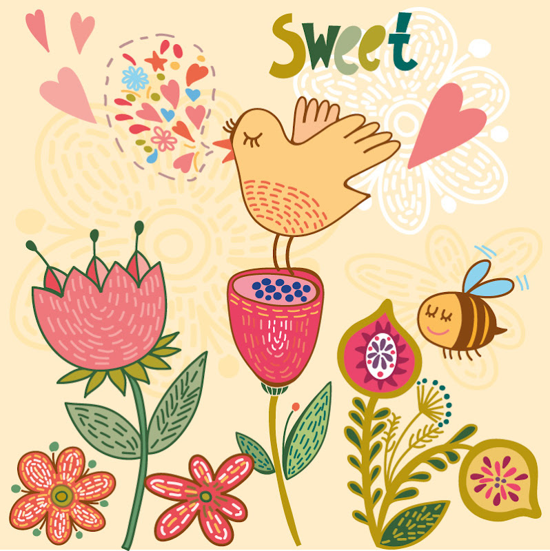 Bird flower illustration