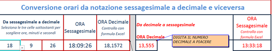 conversione ore in excel