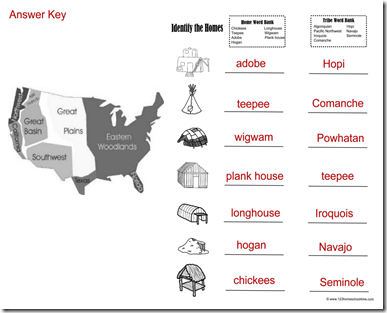 one of the answer keys to the free native american review worksheets