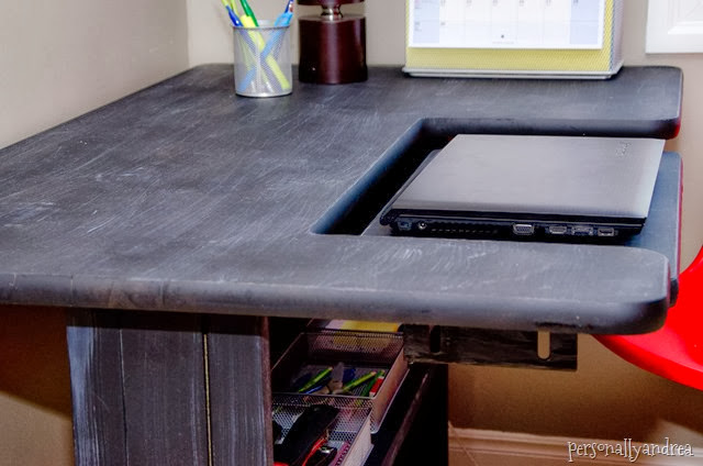 Organizing a Student's Desk | calendar, laptop, mesh storage containers | personallyandrea.com