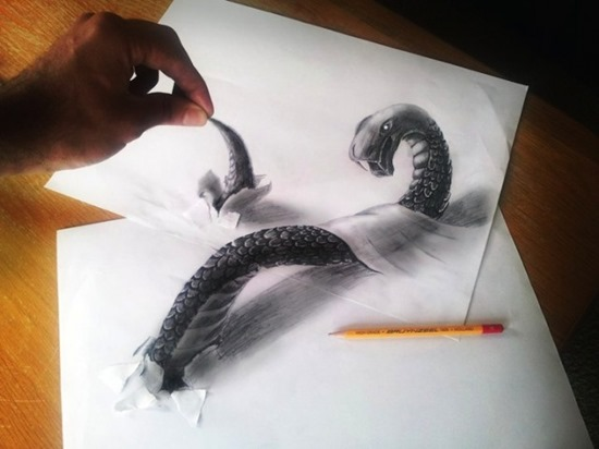 snake monster anamorphic drawing