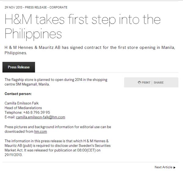 H&M Philippine Opening