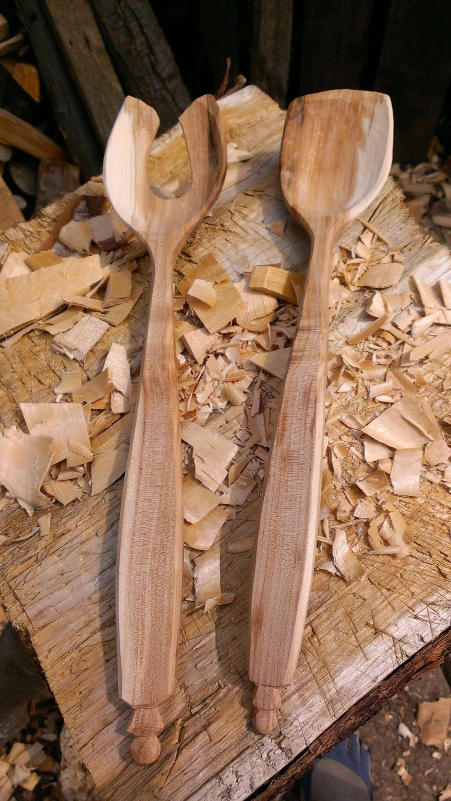 Rowan salad servers — sylva spoon