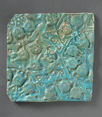Tile | Origin: Iran | Period:  second half of 13th to 14th century | Collection: The Madina Collection of Islamic Art, gift of Camilla Chandler Frost (M.2002.1.285) | Type: Ceramic; Architectural element, Fritware, molded and overglaze-painted, 9 5/8 x 9 5/8 in. (24.44x 24.44 cm)