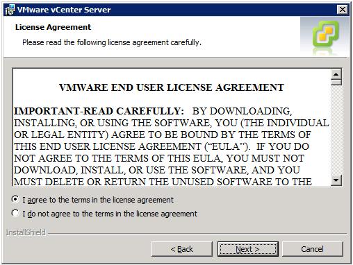 VMware vCenter Server Installer - License Agreement
